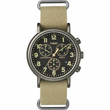 Timex Weekender Chrono Oversized | Tan Nylon Strap Black Dial | Casual Watch