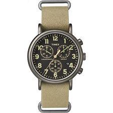 Timex Weekender Chrono Oversized   Tan Nylon Strap Black Dial   Casual Watch