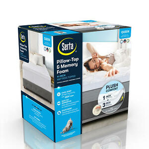 "Serta 4"" Mattress Pad Topper Pillow Top 3"" Memory Foam Comfort Back Support"
