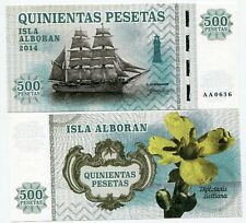 Alboran Island 500 pesetas 2014 UNC Ship Flower Spain Private Issue