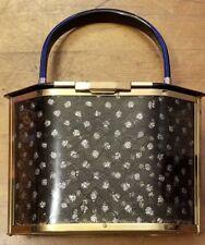 Vintage, Majestic, Black/Gold, Floral Lace Pattern, Lucite Handbag (1940s)