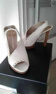 Damen Leder Schuhe Shoes White Highheels  Gr 39 EMANUEL UNGARO Weiß NP 650€
