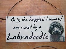 Labradoodle dog, black,  metal hanging sign, decorative sign, metal plaque