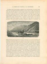 Panorama de Lustin Profondeville Namur Wallonie GRAVURE ANTIQUE OLD PRINT 1880
