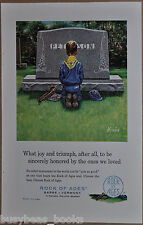 1961 ROCK OF AGES advertisement, Peterson Grave Stone, Wolf Cub Scout, headstone