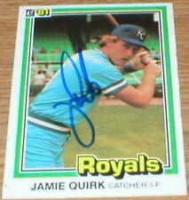 Royals Jamie Quirk 81 Donruss Autographed Card