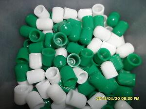 100 Mixed Dark Green & White Dust Caps for Cars, Bikes, ATV, Tractors etc
