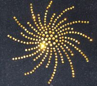 LARGE GOLD SPIRAL iron-on rhinestones applique transfer
