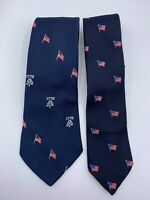 Set of 2 Vintage Men's Navy Blue American Flag Patriotic 1776 Necktie