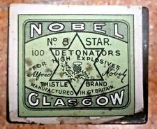 Vintage Nobel Glasgow 8 Detonators Thistle Brand Tin Green label Star RARE