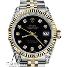 Black Rolex 31mm Datejust 2 Tone black Diamond Numbers & Shoulders 18k SS Watch