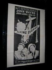 Original VIETNAM ERA 1960s Military Theatre Poster JOHN WAYNE FLYING TIGERS