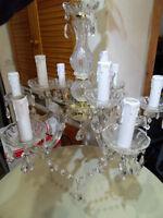 Jolie lustre suspension a pampilles verre 9 feux pour deco style art deco !!