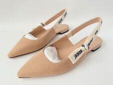 DIOR J'ADIOR Beige Fabric Textured Technical Canvas Slingback Flats Shoes 39