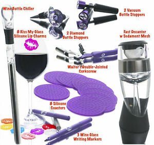 Wine Accessories Box 26 FUN PIECES For Women. BEST PARTY SET! Chiller, Charms...