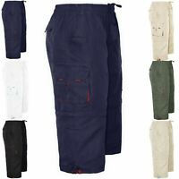 Mens 2 In 1 Zip Off Long Shorts Combat Cargo Summer Jogging Casual 3/4 Pants