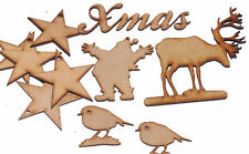 Pack of 10 Christmas tree embelishments about 100mm Wide or High frm 3mm MDF ~02
