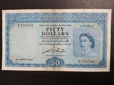 Malaya Queen $50 1953 A/7 759702