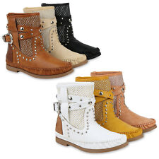 Damen Stiefeletten Mokassin Stiefel Nieten Prints Schlupfstiefel 832971 Schuhe