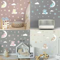 Cartoon Cute Bear Wall Stickers Moon Cloud Vinyl Art Decal Kids Baby Room Decor