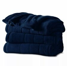 Sunbeam Channeled Microplush Electric Heated Warming Blanket Queen Royal Blue