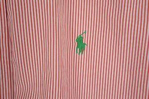 Ralph Lauren Mens sz Large Orange White Micro Stripe Custom Fit Shirt Green Pony