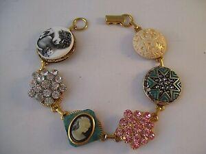 Vintage Button Bracelet CAMEO Rhinestones Hand Made OOAK Wearable Art Bling Lady