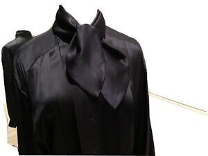ESCADA Womens  Black Long Sleeve Shirt Blouse Top Size 38 With Self Tie