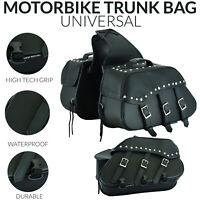 2PC Motorcycle Leather Saddlebags Pannier Bags Motorbike Saddle Bag Leather UK