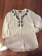 NWT The Limited Women's Top Sheer Cream embroidered Tunic 3/4 Sleeve Size Large