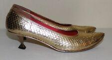 Taj of India vintage metallic gold design pointed elf toe shoes 8 N