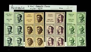 AUSTRALIA FAMOUS PEOPLE 4 BOOKLET PANE OF 5 MNH STAMPS #446-49