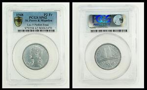 Saint Pierre & Miquelon 2 Francs 1948 PCGS SP62 Essai PIEFORT Mtg.104 Rare!