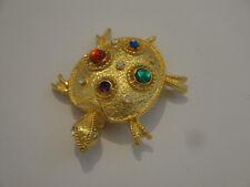 spilla vintage a forma di tartaruga placcata oro con cabochon multicolore