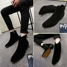 Men Pointed toe Suede Chelsea Boots Side zip Formal Business Shoes Ankle Booties