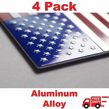 "(4 Pack) Aluminum US American Flag Sticker Decal | Auto Car Emblem 3.15""x1.75"""