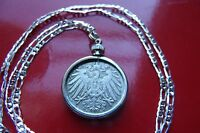 """1890-1916 IMPERIAL GERMAN EAGLE COIN DISPLAYED on a 30"""" 925 Sterl Silver Chain"""