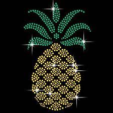 Pineapple Diamante Transfer Iron On Hotfix Gem Crystal T-Shirt Motif
