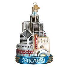 New ListingChicago Illinois Skyline Old World Christmas Glass City Ornament Nwt 20091