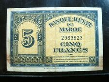 MOROCCO 5 FRANCS 1943 MAROC 623# CURRENCY BANKNOTE MONEY