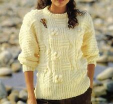 Knitting Pattern Lady's Chunky Patchwork Sweater 76 -102 cm (195)