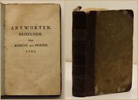 Lavater Handbibliothek für Freunde Jhg. 2 heft 2 Antworten Briefchen 1791 sf
