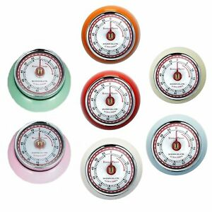Magnetic Kitchen Timer - 7 COLOURS - Round Retro Timer by Dulton Vintage Style