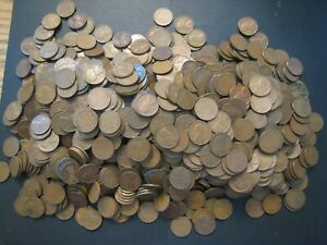 1909-1958 US Lincoln Cent Wheat Back Lot over 1000 Coins Circulated a Lot