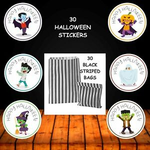 30 Happy Halloween Black Striped Bags & 30 Stickers Trick Or Treat Party 8815