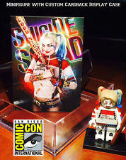 Suicide Squad Harley Quinn Custom Minifigure w/ Display case & lego stand 200x