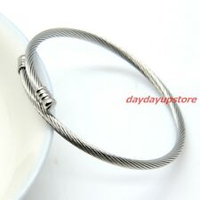New Arrival 3mm Cable Twisted Wire Silver Stainless Steel Womens Mens Bracelet