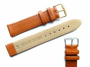 Tan High Quality Men's Ladies Genuine Soft Leather Watch Band Strap 6mm-24mm