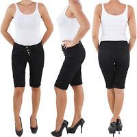 Damen Capri 3/4 Jeans Shorts Bemuda Kurze Hüft Stretch Hose Schwarz