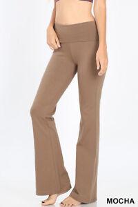 Yoga Pants Stretch Cotton Fold Over High Waist Flare Legging S- XL Plus 1X-3X
